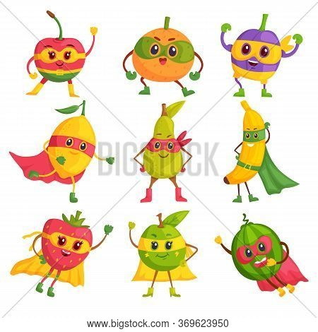 Super Hero Fruit. Comic Cartoon Characters In Masks And Capes Vector Set. Brave And Funny Super Hero