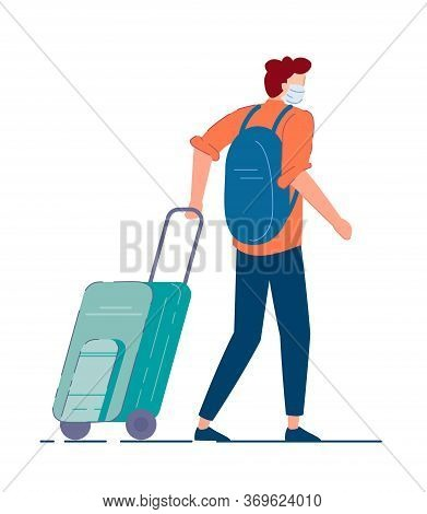Tourist With Luggage. Man Tourist In Mask Carrying Backpack, Walking And Pulling Luggage Wheel Suitc