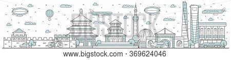 China Skyline. Line Cityscape With Traditional Building Landmarks Horizontal Panorama. China Skyline