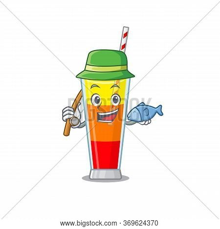Cartoon Design Style Of Tequila Sunrise Cocktail Goes To Fishing