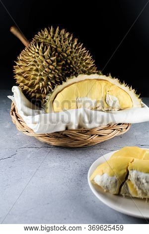 Close Up Durian The King Of Fruit In Thailand On Wooden Basket.summer Tropical Thai Traditional Frui