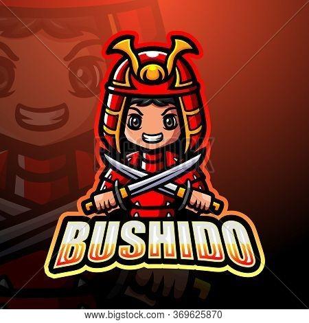 Vector Illustration Of Bushido Mascot Esport Logo Design
