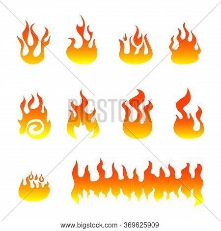 Fire Flames Vector Logo Set. Fire Icon, Fire Icon Eps10, Fire Icon Vector, Fire Icon Eps, Fire Icon