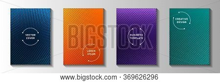 Dynamic Circle Screen Tone Gradation Front Page Templates Vector Collection. Scientific Banner Faded
