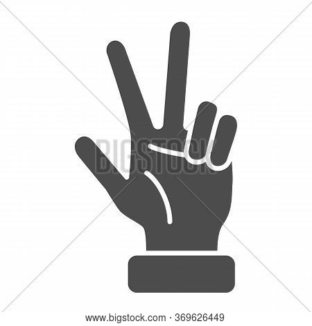 Hand Showing Three Fingers Solid Icon, Hand Gestures Concept, Three Finger Gesture Sign On White Bac