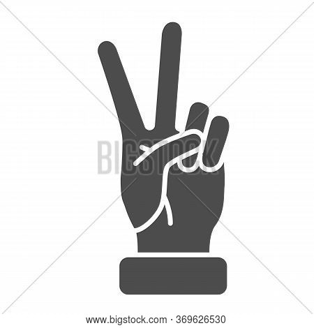 Victory Gesture Solid Icon, Hand Gestures Concept, Peace Sign On White Background, Two Fingers Up Ic