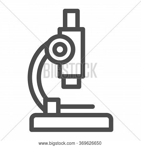 Microscope Line Icon, Medicine Concept, Laboratory Magnification Instrument Sign On White Background