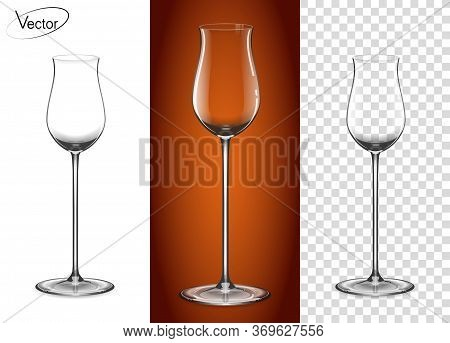 Empty Glass On A Transparent Background And On A Cognac Background. Tableware For Drinks Made Of Gla