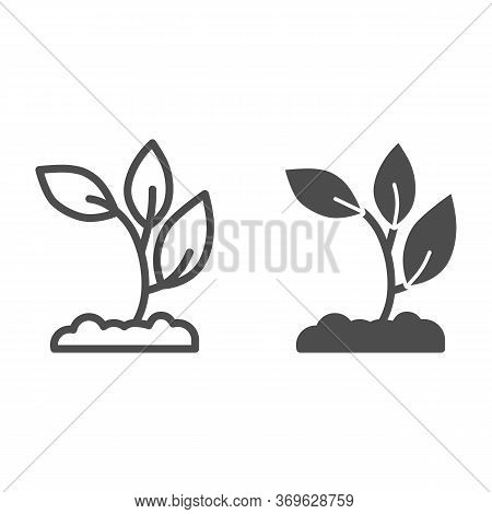 Seedling In Soil Line And Solid Icon, Nature Concept, Sprout Growth In Ground Sign On White Backgrou