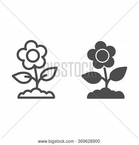 Flower Line And Solid Icon, Floral Concept, Spring Flower With Leaves Sign On White Background, Butt