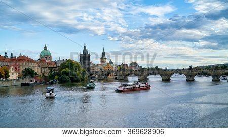 Prague, Czech Republic - September 29, 2019: City View Of Prague With The River Vltava And Charles B