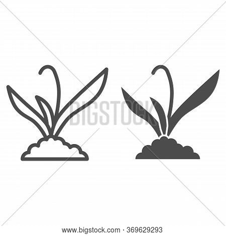 Plant Sprouts In Soil Line And Solid Icon, Gardening Concept, Sprout Grows In Ground Sign On White B