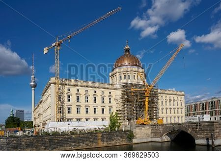 Berlin, Germany - May 30, 2020: Facade Of The Rebuilt City Palace On The Banks Of The Spree Shortly