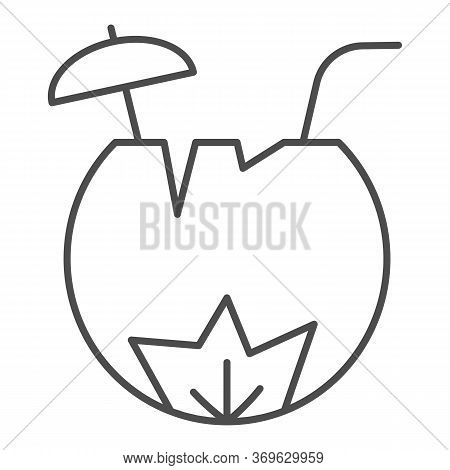 Coconut Cocktail Thin Line Icon, Summer Concept, Summer Beach Cocktail In Coconut Sign On White Back