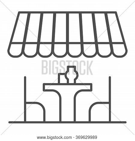Summer Terrace Thin Line Icon, Summer Concept, Terrace Cafe With Table And Chairs Sign On White Back