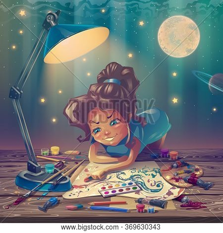 Cartoon Personage As Artist Is Working At Wooden Table With Painter Tools, Painting Illustrator Girl
