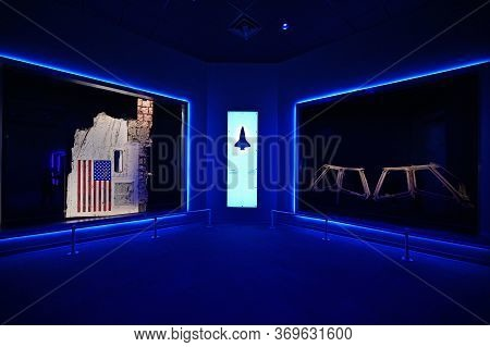 Kennedy Space Center, Merritt Island, Florida - May 30, 2020 - Remnants Of Shuttle Challenger On Dis