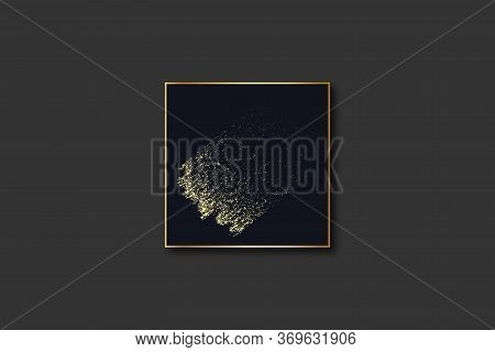 Abstract Dark Blue Luxury Background With Grunge Brush Stroke In Gold Color And Rectangle Geometric