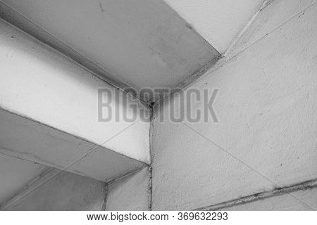 Under Staircase Of Architecture Geometric. Details Of Building Structure. Black And White Of Abstrac