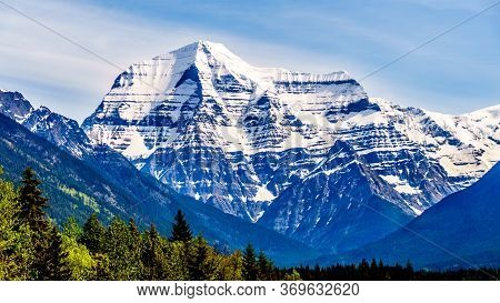 Snow Covered Mount Robson, The Highest Peak In The Rocky Mountains, In British Columbia, Canada