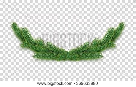 Christmas Decoration With Fir Tree Branches Isolated On Transparent Background. Merry Christmas And