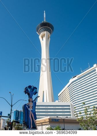 2 May 2020 Las Vegas, Nevada Usa: Looking Up At The Stratosphere Casino Tower