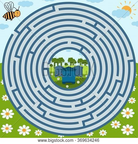 Maze Puzzle On The Theme Of Nature, Where The Bee Must Find The Way To The Apiary, The Shape Of The