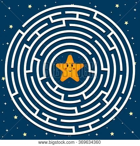 Maze Puzzle Round Shape Theme Space, Help The Star Get Out Of The Maze, Vector Illustration, Enterta