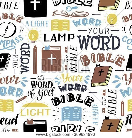 Seamless Christian Pattern With Inscriptions Your Word, Bible, Lamp, Light . Ministry .