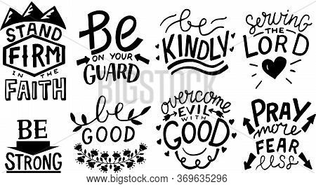 Hand Lettering Set With Bible Verse And Christian Quotes Stand Firm, Be Kindly, Pray More, Fear Less