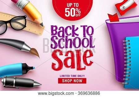 Back To School Sale Vector Banner Design. Back To School Sale Discount Text In White Space With Colo