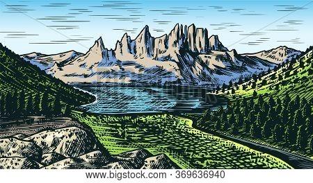 Mountain Landscape Background. Forest And Alpine Peaks. Vintage Mount. Travel Concept. Hand Drawn En