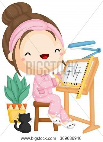 A Vector Of A Girl Work On A New Design With He Pajamas