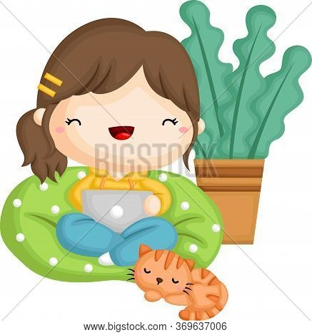 A Vector Of A Girl Working From Her Beanbag