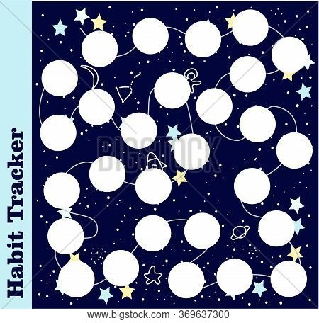 Habit Tracker, Bullet Magazine. Tracker Template For Day Planning. Vector Illustration Of Good Habit
