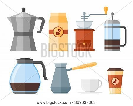 Set Of Coffee Elements Isolated On White Background. French Press, Coffee Makers, Cup, Pot, Grinder