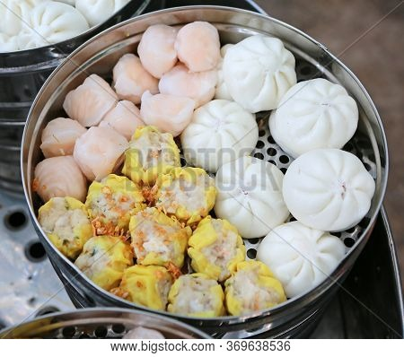 A Variety Of Dim Sum, Dumpling In Steamer.