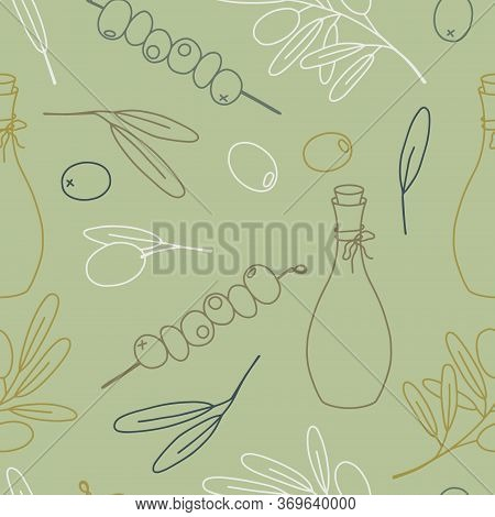 Olive Set Seamless Pattern, Hand Draw Vector Line Illustration. The Set Consists Of Scarf, Leaves, O