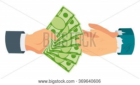 Donate Money. Rich Man Hands Money To Poor, Needy. Charity, Patronage And Sponsorship. Investment Fi