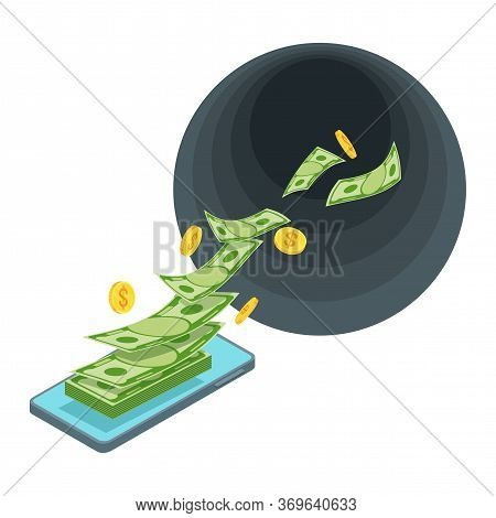 Mobile Expenses. Costs Of Internet And Telephony. Black Hole Money. Money From Phone Flies Into A Bl