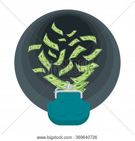 Money From Wallet Is Flying Into Black Hole. Ruin And Bankruptcy, Collapse Of Financial System. Budg