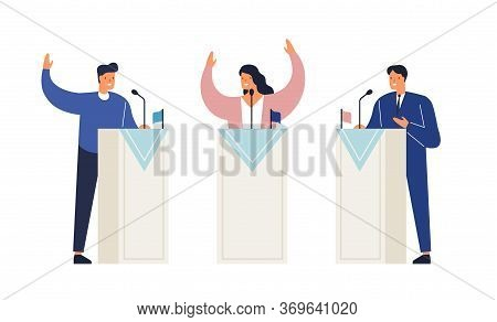 People Politicians Standing On Tribunes With Raising Hands Vector Isometric Illustration. Man And Wo