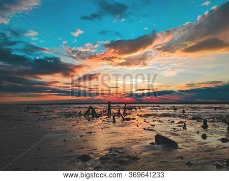 Sunset Cloudy Sky With Picturesque Clouds Lit By Warm Sunset Sunlight, Colorful Sunset Sky With Dram