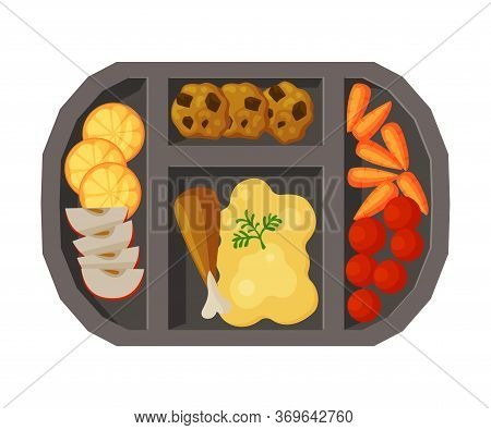 Meal Tray Filled With Mashed Potato, Chicken Drumstick And Vegetables, Healthy Food For Kids And Stu