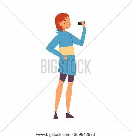Smiling Girl Taking Selfie Photo, Female Character Photographing Herself With Smartphone Cartoon Vec