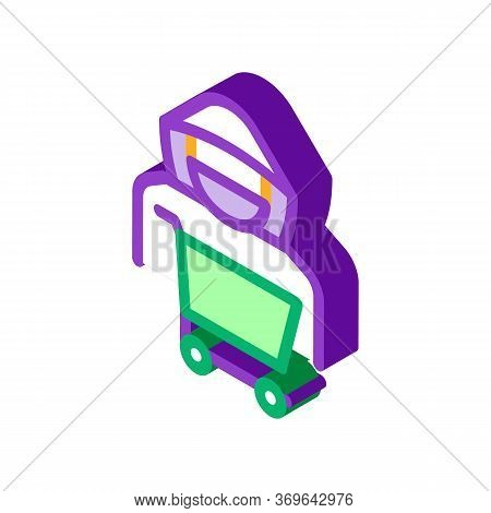 Shopping Cart Thief Icon Vector. Isometric Shopping Cart Thief Sign. Isolated Contour Symbol Illustr