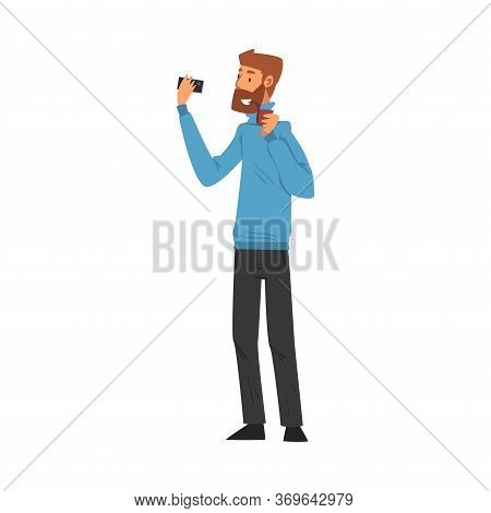 Smiling Bearded Man Smoking Pipe Taking Selfie Photo, Male Hipster Character Photographing Himself W