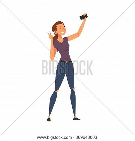 Beautiful Smiling Girl Taking Selfie Photo, Young Woman Character Photographing Herself With Smartph