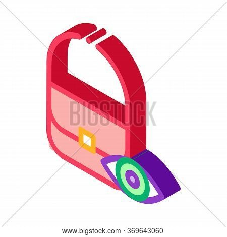 Bag Control Inspection Icon Vector. Isometric Bag Control Inspection Sign. Color Isolated Symbol Ill