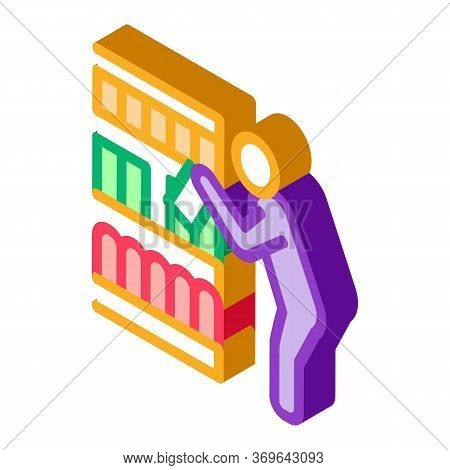 Man Choose Products Icon Vector. Isometric Man Choose Products Sign. Color Isolated Symbol Illustrat